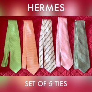 Hermes Accessories - SOLD! Hermes Mens Ties 100% Silk Tie Lot of 5